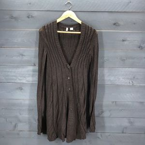 ANTHROPOLOGIE Moth Brown Duster Cardigan Sz Small